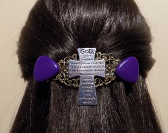 Serenity Prayer Jewelry/Extra Large Barrette / Womens Gift