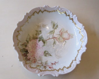 HAND PAINTED BOWL with Roses