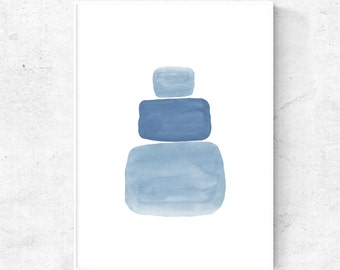 Gray blue wall art downloadable, abstract digital art, blue printable art, abstract modern wall art, art print download, watercolor shapes