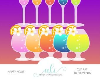 Happy Hour Clipart, drinks digital clip art, digital images