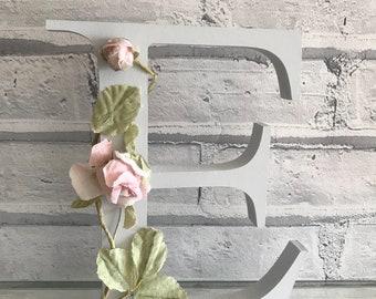 Wooden Flower Letter   Shabby Chic   Nursery   Girls Room   Baby Gift   Wedding Decor   8 Inch
