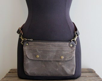 Fanny Pack Hip Pack Hip Pouch Brown Waxed Canvas