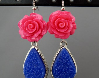 Hot Pink Rose and Indigo Blue Faux Druzy Drop Earrings, Pierced Dangly Earrings Pink and Blue, Bridesmaid Gift, Easter Spring Jewelry