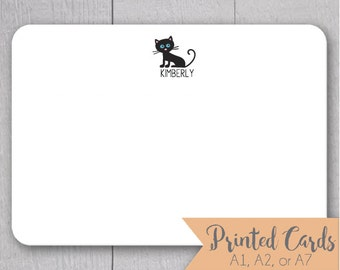 Cat Note Cards - 24pk, Cat Note Cards, Personalized Flat Note Cards, Printed without Envelopes (NC-013)