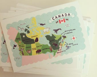 """Set of 5 4""""x6"""" Map of Canada Postcards"""