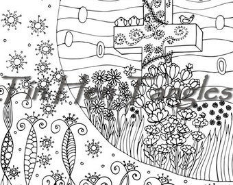 Easter Package Coloring Pages Bicycle Egg Basket Hill