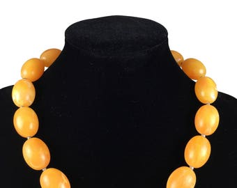 Vintage Necklace-Pearls-statement-1960s-yellow-mid century jewelry-Mad Men-unsigned jewelry-plain