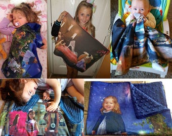 Personalised Toddler Lovey Blanket, Bespoke Fantasy, Fairytale Scenes incorporating your child