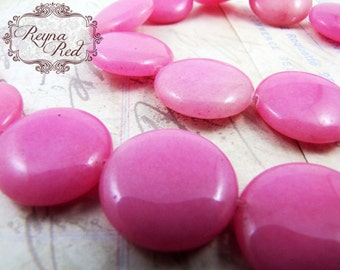 Cotton Candy Pink Dyed Jade Coin Beads, FULL strand, pink gem beads, flat round gemstone beads, rose, wedding, romantic - reynaredsupplies