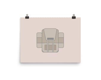 Backpack Art - Modern Illustration - Art Print - Adventure - Icon Design