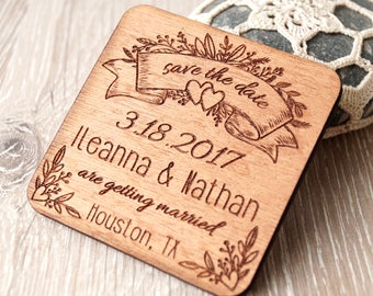 Wooden Save the date magnets, wedding save the dates, save the date magnets, engraved wedding magnets, rustic save the dates, set of 25
