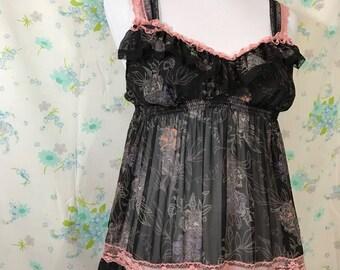 Victorias Secret Slip Babydoll Dress 90s Tiered Nightie Sheer Floral Black Pink