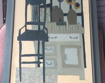 Cute Mid Century Painting of Chair and Furniture