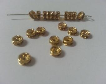 20 spacer 4mm yellow rhinestone beads
