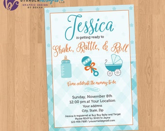 Shake Rattle and Roll Baby Shower Invitation