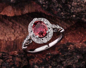 Scalloped Garnet Halo Engagement Ring - 14k white Gold Garnet  Halo Engagement Ring With 8x6 Garnet