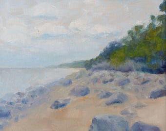 Original Small Oil Painting on Canvas. Landscape Painting. Daily Painting. Seascape painting. Rocks painting. Fine Art