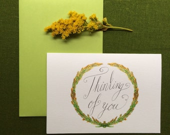 Goldenrod Wreath Thinking of You Card