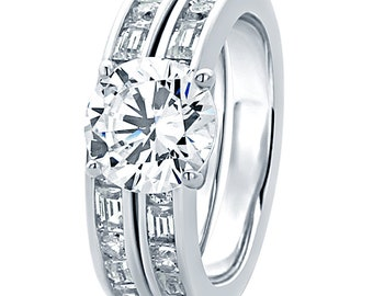 8MM Sterling Silver 2ct CZ Channel Set Wedding Band Engagement Ring Bridal Set(HCBS12R0156A)
