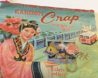"NEW**** Blue Q Zipper Pouch, ""Random Crap"": Bag, supply pouch, makeup bag, cute pencil pouch..."