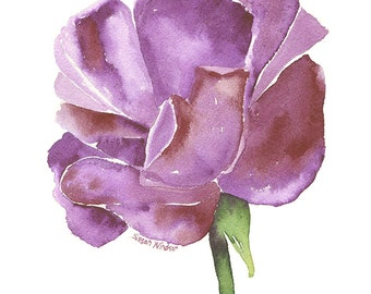 Purple Rose Watercolor Painting - 11 x 14 - Giclee Print - Floral Painting - Flower