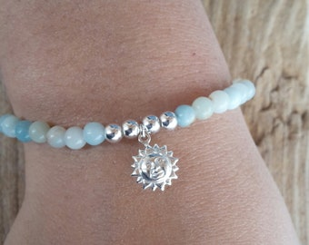 Amazonite, silver 4 mm beads and Sun charm bracelet