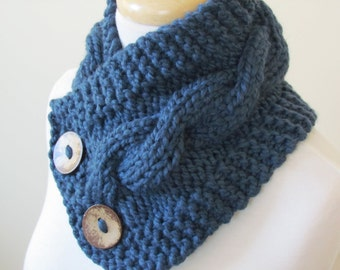 """Knit Neck Warmer, Cable Knit Scarf,  Chunky Warm Winter Scarf in Denim 6"""" x 25"""" Coconut Shell Buttons Ready to Ship - Gift for Her"""
