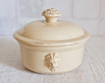 Antique French SARREGUEMINES Pale Yellow Ceramic Terrine Jar || French Country Home Decor - Farmhouse Kitchen Decor