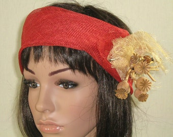 headband headband headband red sinamay cocktail wedding ceremony