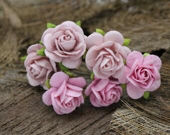 6 Small Pink Roses, Mulberry Paper Flower Hair Pins , Bridal Hair Pins, Hair Bobby Pins,rustic wedding,Bridal Hair Accessories (P34)