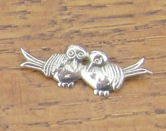 Vintage Sterling Bird Buddies brooch pin hand made in Mexico silver jewelry early mark