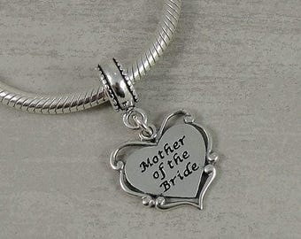 Mother of the Bride European Dangle Bead Charm - Sterling Silver Mother of the Bride Charm for European Bracelet