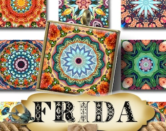 FRIDA•1x1 Square Images•Printable Digital Images•Cards•Gift Tags•Stickers•Magnets•Mandala•Digital Collage Sheet