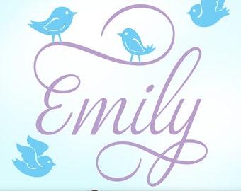 Personalized Girls Name Wall Decal with Cute Bird Wall Decals | Girls Name Bedroom Decal in Script Font | Emily (shown in light violet)