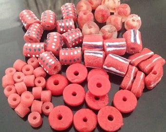 Deep Pink Bead Set, Deep Pink Beads, Red Beads, Krobo Beads, Mix Beads, Recycled Glass Beads, African Beads