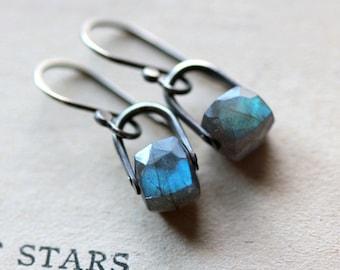 Silver Earrings Labradorite Earrings Drop Earrings Dangle Earrings Metalsmith Blue Gemstone Earrings Small Earrings Sterling Silver - Hydra