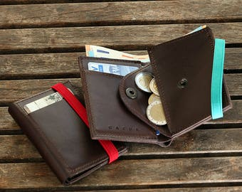 Men Wallets - Minimal Leather Wallet -  Gifts for Father's Day