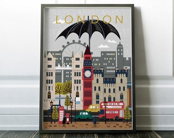 London City Poster, Travel Print, Wall Art, Modern City Poster, Modern Travel Art, City Scape Print, London Art, London Print, London Poster