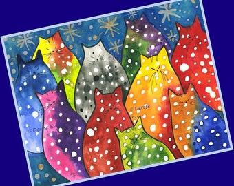 Two-Toned Polka-Dot Kitties with Stars Cat Art Print Cat Lover Cat Gift Cat Lover Gift Cat Print Cat ACEO Print Cat Decor Home Decor Art