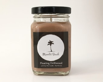 Floating Driftwood Scented Soy Candle / 6 oz Soy Candle / Handmade Candle / Coastal Candle / Natural Soy Candle / Gift for Home/ Home Décor