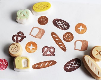 bakery rubber stamp | bread stamps | baguette pretzel bun scroll bread white bread sour dough | diy | hand carved by talktothesun | set of 6