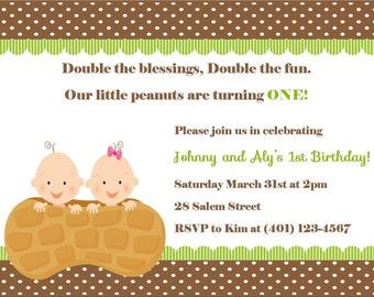 Twin's First Birthday Invitation - (Digital File)