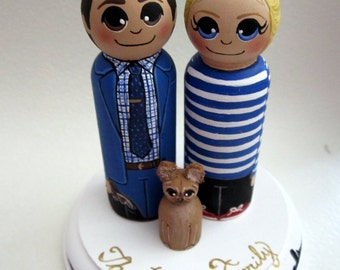 Wedding Cake Topper / Custom Painted Wood Peg Dolls / Couple Plus One Pet and Plaque