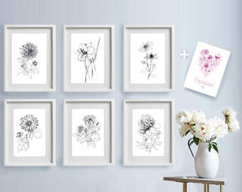 Set of 6, garden flowers sketches, Botanical Art Prints, pen line drawing artwork, floral, black white, gift for her, printable wall decor