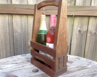 Rustic Engraved personalized wine caddie carrier wedding bridesmaid mothers day valentines christmas gift new