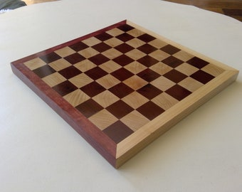 Purple Heart and Maple Hardwood Chess/Checkers board