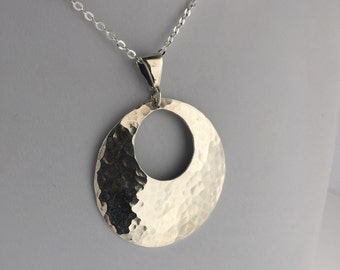 HAMMERED STERLING SILVER Necklace-Large Round classic silver pendant necklace-Handmade necklace