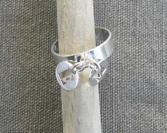 "Silver tassel ring ""Initials"""