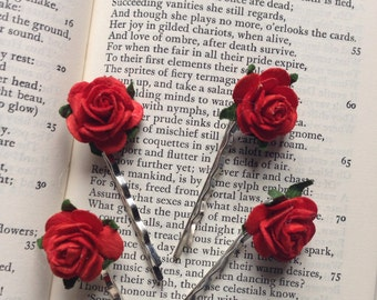 Flower clips red floral rose wedding hair bridal accessoris hair clip bobby pin set