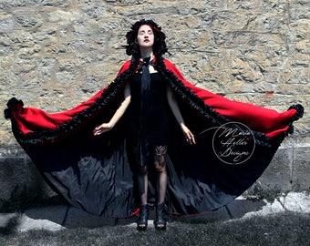 Red Coat, Long Coat, Black Coat, Long Red Coat, Fantasy Coat, Gothic Coat, Red Cape, Long Cape, Hooded Coat, Gothic Cape, Cape Coat